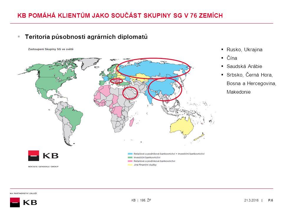 | 21.3.2016P.6  Teritoria působnosti agrárních diplomatů KB POMÁHÁ KLIENTŮM JAKO SOUČÁST SKUPINY SG V 76 ZEMÍCH KB | 195.