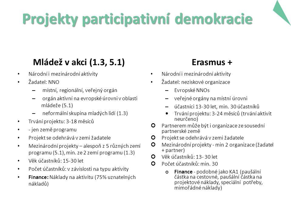 Projekty participativní demokracie Mládež v akci (1.3, 5.1) Národní i mezinárodní aktivity Žadatel: NNO – místní, regionální, veřejný orgán – orgán aktivní na evropské úrovni v oblasti mládeže (5.1) – neformální skupina mladých lidí (1.3) Trvání projektu: 3-18 měsíců - jen země programu Projekt se odehrává v zemi žadatele Mezinárodní projekty – alespoň z 5 různých zemí programu (5.1), min.