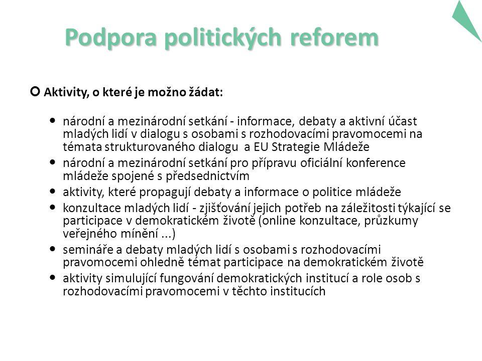 Podpora politických reforem Aktivity, o které je možno žádat: národní a mezinárodní setkání - informace, debaty a aktivní účast mladých lidí v dialogu s osobami s rozhodovacími pravomocemi na témata strukturovaného dialogu a EU Strategie Mládeže národní a mezinárodní setkání pro přípravu oficiální konference mládeže spojené s předsednictvím aktivity, které propagují debaty a informace o politice mládeže konzultace mladých lidí - zjišťování jejich potřeb na záležitosti týkající se participace v demokratickém životě (online konzultace, průzkumy veřejného mínění...) semináře a debaty mladých lidí s osobami s rozhodovacími pravomocemi ohledně témat participace na demokratickém životě aktivity simulující fungování demokratických institucí a role osob s rozhodovacími pravomocemi v těchto institucích 22
