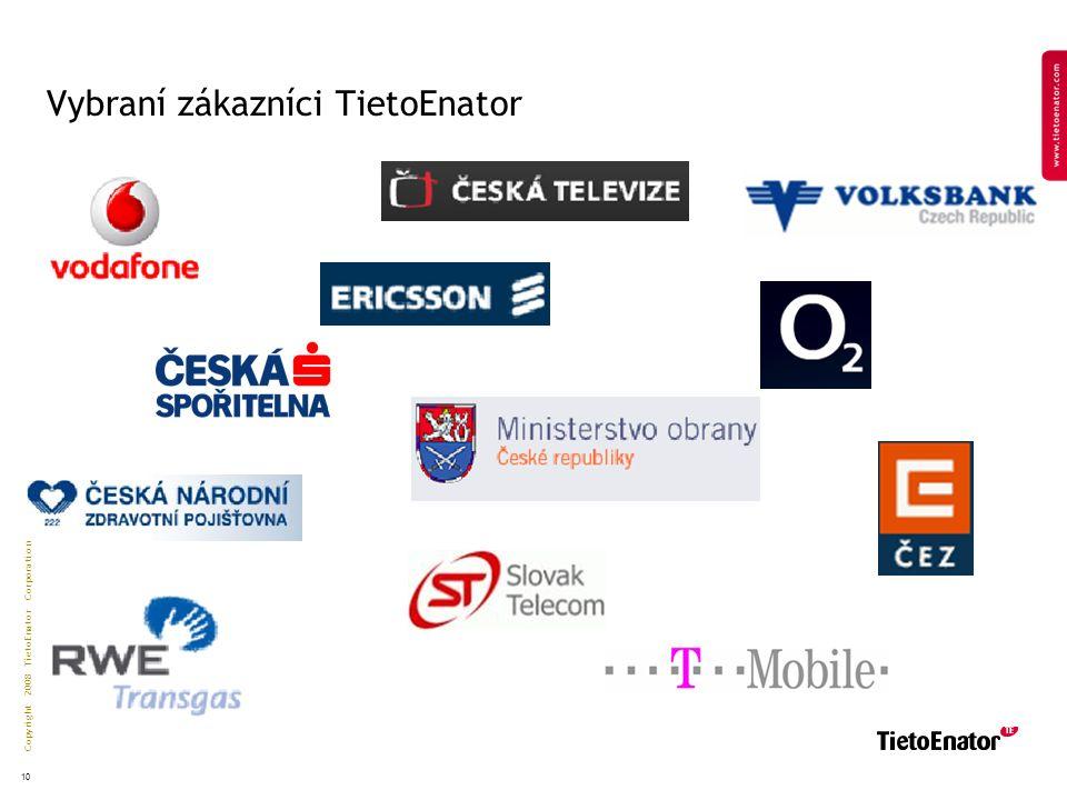 Copyright 2008 TietoEnator Corporation 10 Vybraní zákazníci TietoEnator