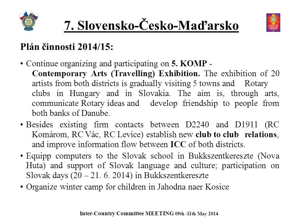 7. Slovensko-Česko-Maďarsko Plán činnosti 2014/15: Continue organizing and participating on 5.