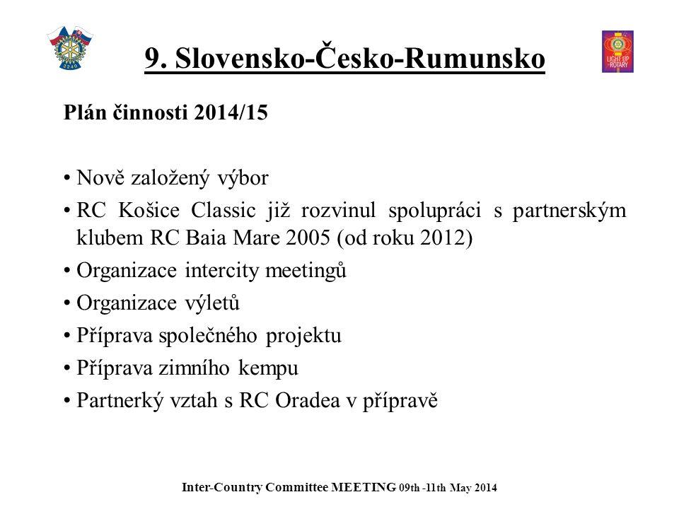 9. Slovensko-Česko-Rumunsko Plán činnosti 2014/15 Nově založený výbor RC Košice Classic již rozvinul spolupráci s partnerským klubem RC Baia Mare 2005