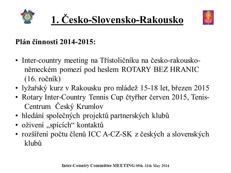 1. Česko-Slovensko-Rakousko Plán činnosti 2014-2015: Inter-country meeting na Třístoličníku na česko-rakousko- německém pomezí pod heslem ROTARY BEZ H