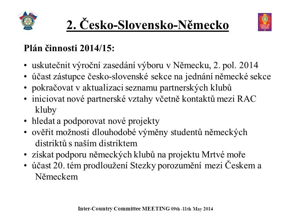 2. Česko-Slovensko-Německo Plán činnosti 2014/15: uskutečnit výroční zasedání výboru v Německu, 2.