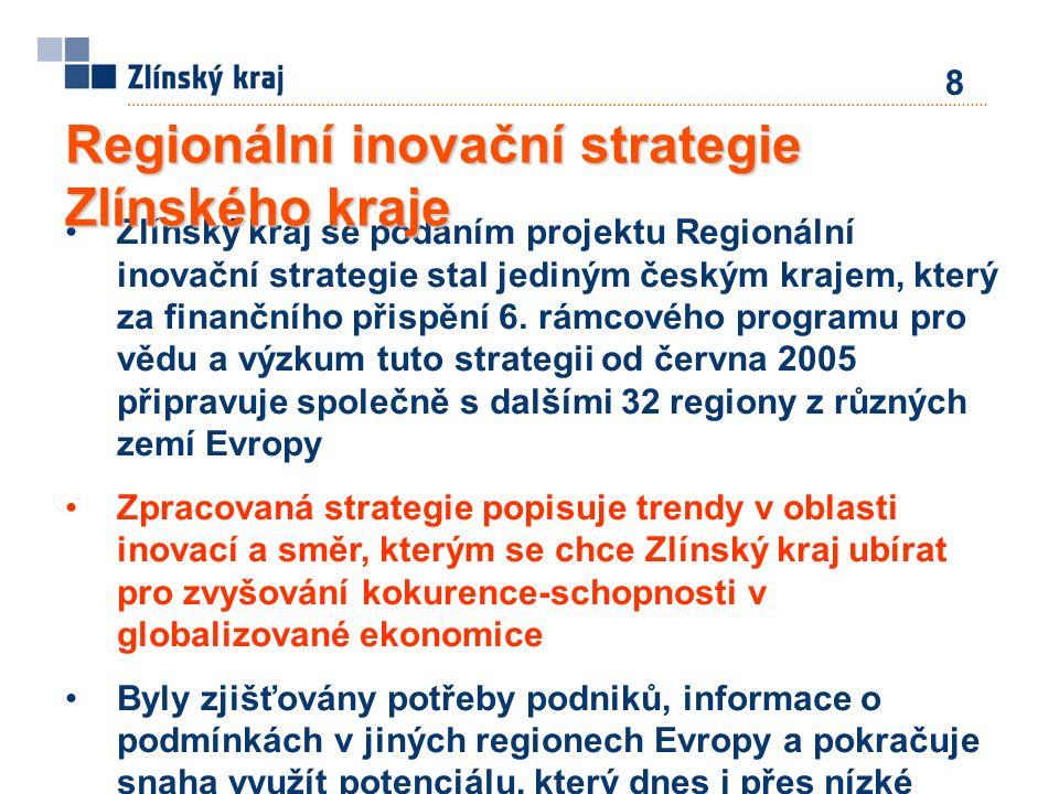 Zlínský kraj se podáním projektu Regionální inovační strategie stal jediným českým krajem, který za finančního přispění 6. rámcového programu pro vědu