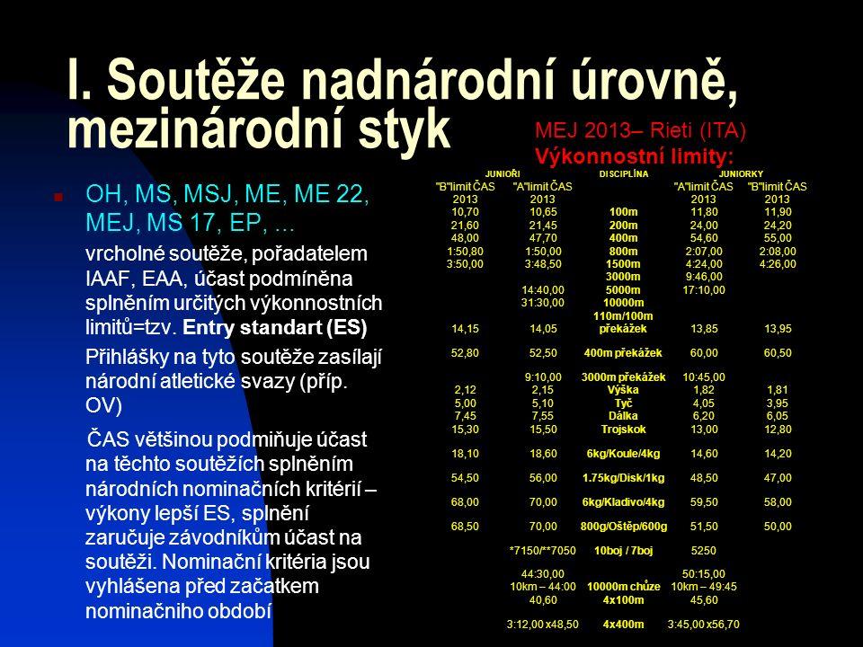 I. Soutěže nadnárodní úrovně, mezinárodní styk OH, MS, MSJ, ME, ME 22, MEJ, MS 17, EP,...