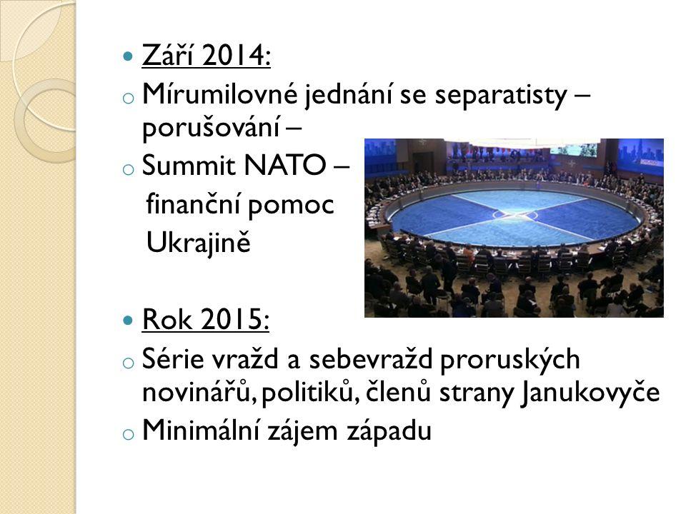 Září 2014: o Mírumilovné jednání se separatisty – porušování – o Summit NATO – finanční pomoc Ukrajině Rok 2015: o Série vražd a sebevražd proruských