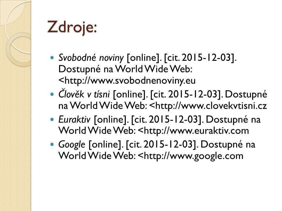 Zdroje: Svobodné noviny [online]. [cit. 2015-12-03]. Dostupné na World Wide Web: <http://www.svobodnenoviny.eu Člověk v tísni [online]. [cit. 2015-12-