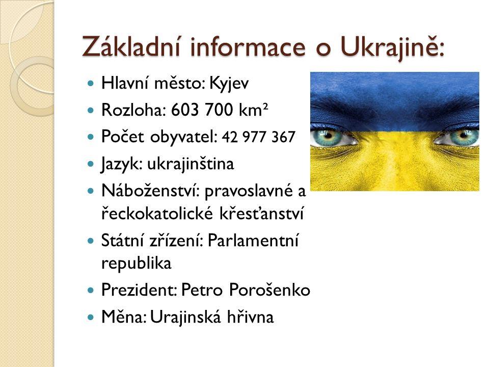 Základní informace o Ukrajině: Hlavní město: Kyjev Rozloha: 603 700 km² Počet obyvatel: 42 977 367 Jazyk: ukrajinština Náboženství: pravoslavné a řeck