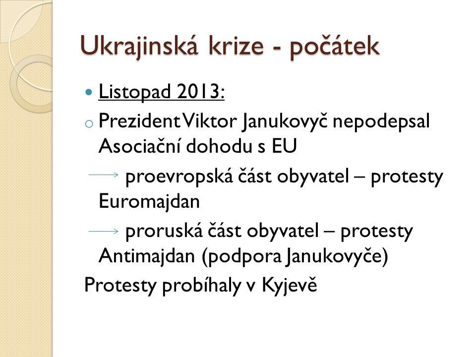Ukrajinská krize - počátek Listopad 2013: o Prezident Viktor Janukovyč nepodepsal Asociační dohodu s EU proevropská část obyvatel – protesty Euromajdan proruská část obyvatel – protesty Antimajdan (podpora Janukovyče) Protesty probíhaly v Kyjevě