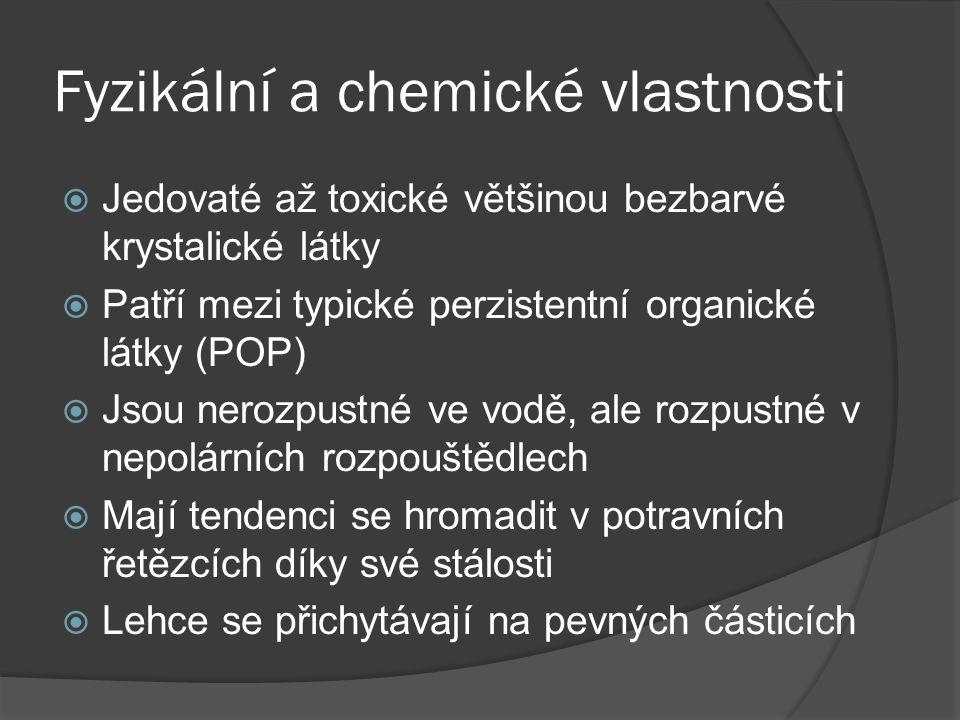 Fyzikální a chemické vlastnosti  Jedovaté až toxické většinou bezbarvé krystalické látky  Patří mezi typické perzistentní organické látky (POP)  Jsou nerozpustné ve vodě, ale rozpustné v nepolárních rozpouštědlech  Mají tendenci se hromadit v potravních řetězcích díky své stálosti  Lehce se přichytávají na pevných částicích