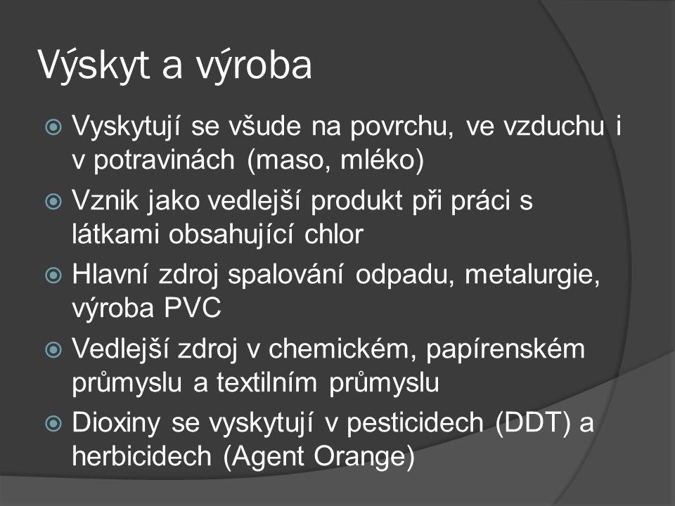 Výskyt a výroba  Vyskytují se všude na povrchu, ve vzduchu i v potravinách (maso, mléko)  Vznik jako vedlejší produkt při práci s látkami obsahující chlor  Hlavní zdroj spalování odpadu, metalurgie, výroba PVC  Vedlejší zdroj v chemickém, papírenském průmyslu a textilním průmyslu  Dioxiny se vyskytují v pesticidech (DDT) a herbicidech (Agent Orange)