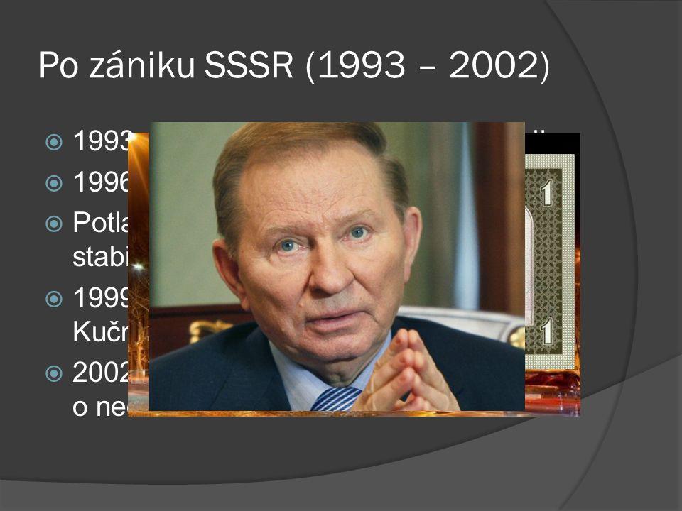 Po zániku SSSR (1993 – 2002)  1993 - guvernér Národní banky Ukrajiny  1996 - nová měna: ukrajinská hřivna  Potlačení ukrajinské hyperinflace a stabilizace trhu.