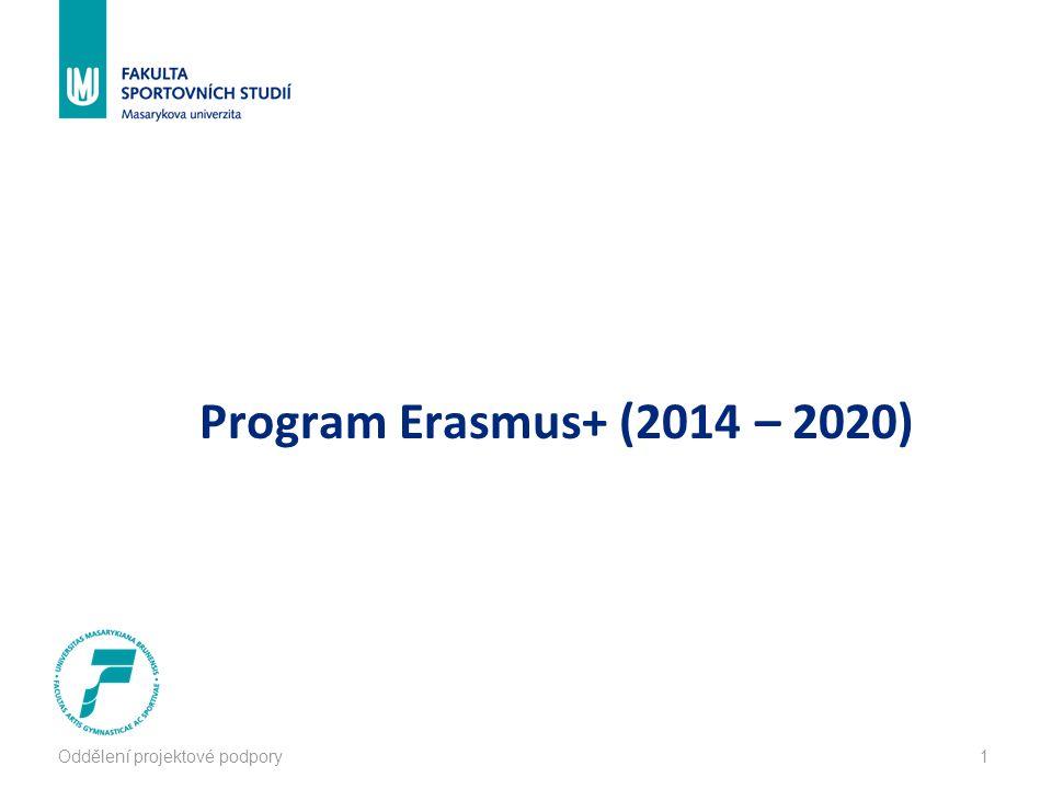 Oddělení projektové podpory2 Program Erasmus+ (2014 – 2020) Organizaci zajišťuje Dům zahraniční spolupráce http://www.dzs.cz/ http://www.dzs.cz/  organizace přímo řízená MŠMT  mezinárodní aktivity v oblasti vzdělávání  administruje vzdělávací programy KA1 Vzdělávací mobilita KA2 Spolupráce - inovace a výměna dobré praxe KA3 Podpora reforem vzdělávací politiky určen pro školní vzdělávání, odborné vzdělávání, vysokoškolské vzdělávání, vzdělávání dospělých, mládež, sport
