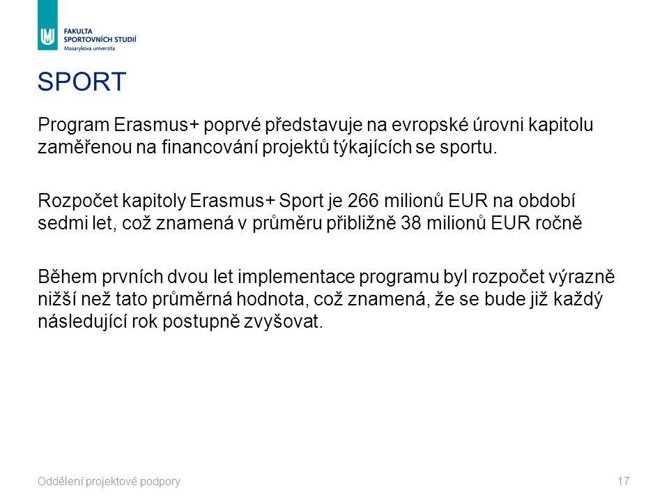 Oddělení projektové podpory17 SPORT Program Erasmus+ poprvé představuje na evropské úrovni kapitolu zaměřenou na financování projektů týkajících se sportu.