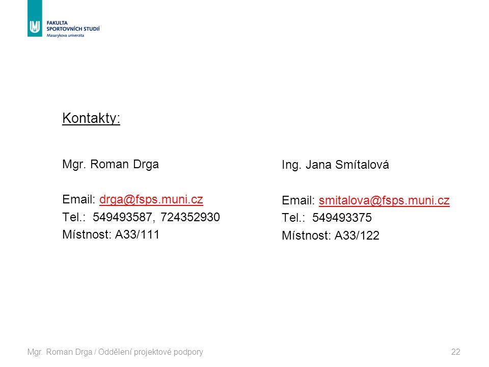Mgr. Roman Drga / Oddělení projektové podpory22 Kontakty: Mgr.