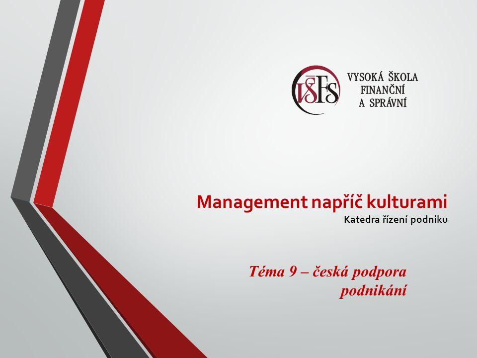 Management napříč kulturami Katedra řízení podniku Téma 9 – česká podpora podnikání