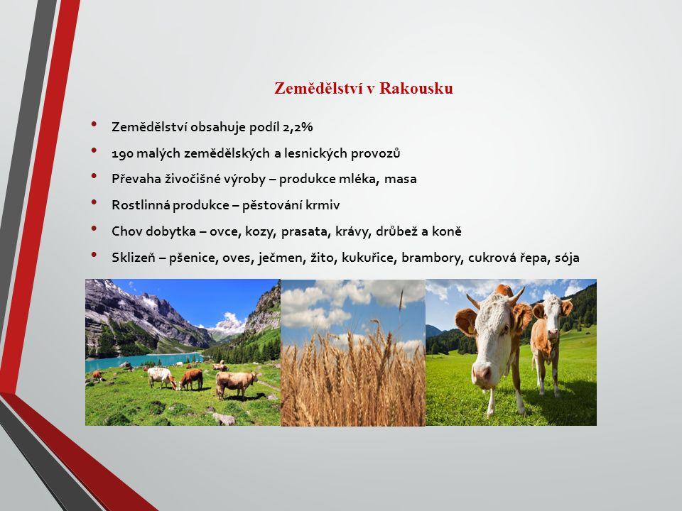 Zemědělství v Rakousku Zemědělství obsahuje podíl 2,2% 190 malých zemědělských a lesnických provozů Převaha živočišné výroby – produkce mléka, masa Rostlinná produkce – pěstování krmiv Chov dobytka – ovce, kozy, prasata, krávy, drůbež a koně Sklizeň – pšenice, oves, ječmen, žito, kukuřice, brambory, cukrová řepa, sója