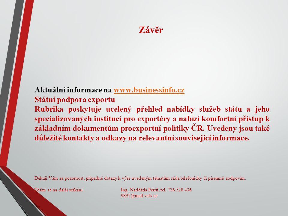 Závěr Aktuální informace na www.businessinfo.czwww.businessinfo.cz Státní podpora exportu Rubrika poskytuje ucelený přehled nabídky služeb státu a jeho specializovaných institucí pro exportéry a nabízí komfortní přístup k základním dokumentům proexportní politiky ČR.