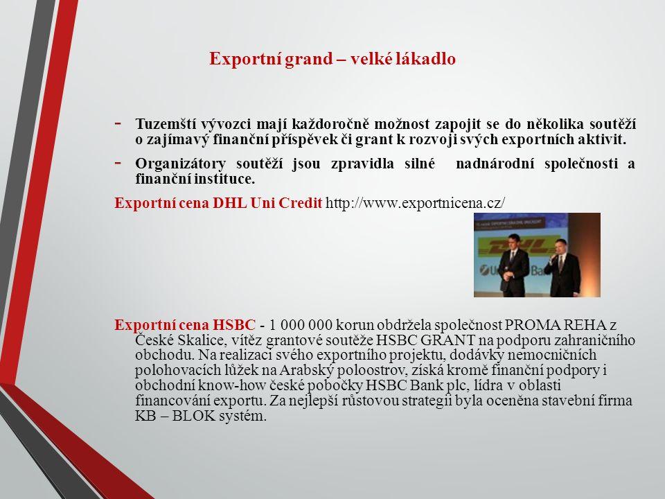 Podpora exportérům Hospodářská komora České republiky aktuálně prezentuje dva zajímavé projekty – tzv.