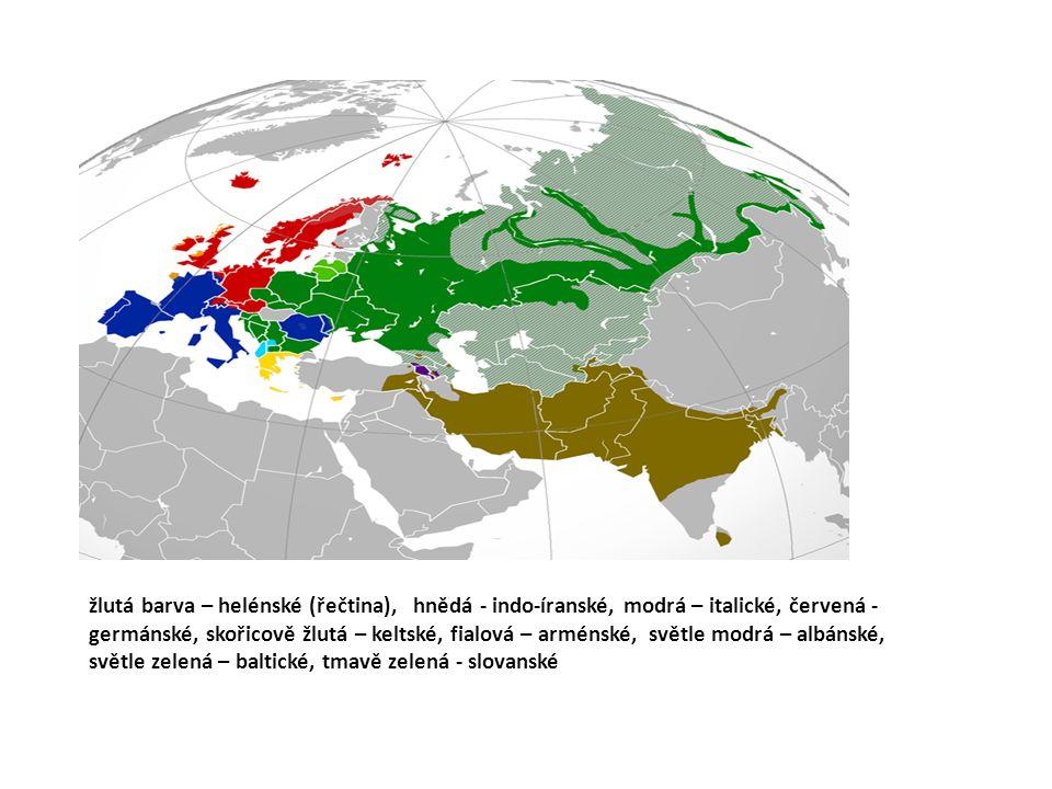 žlutá barva – helénské (řečtina), hnědá - indo-íranské, modrá – italické, červená - germánské, skořicově žlutá – keltské, fialová – arménské, světle modrá – albánské, světle zelená – baltické, tmavě zelená - slovanské