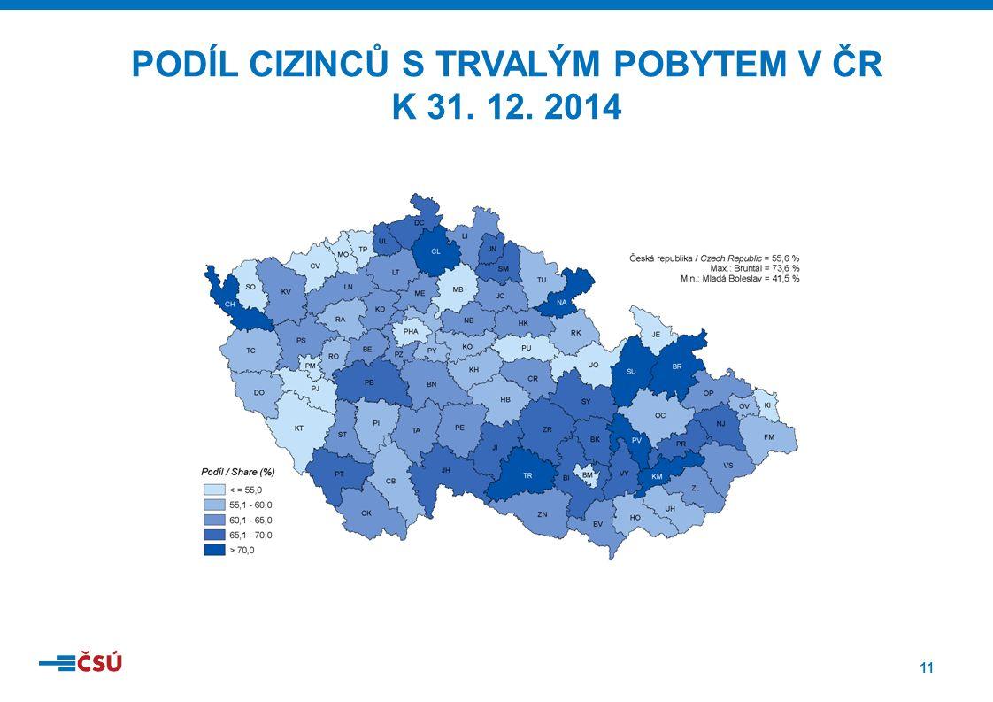 11 PODÍL CIZINCŮ S TRVALÝM POBYTEM V ČR K 31. 12. 2014