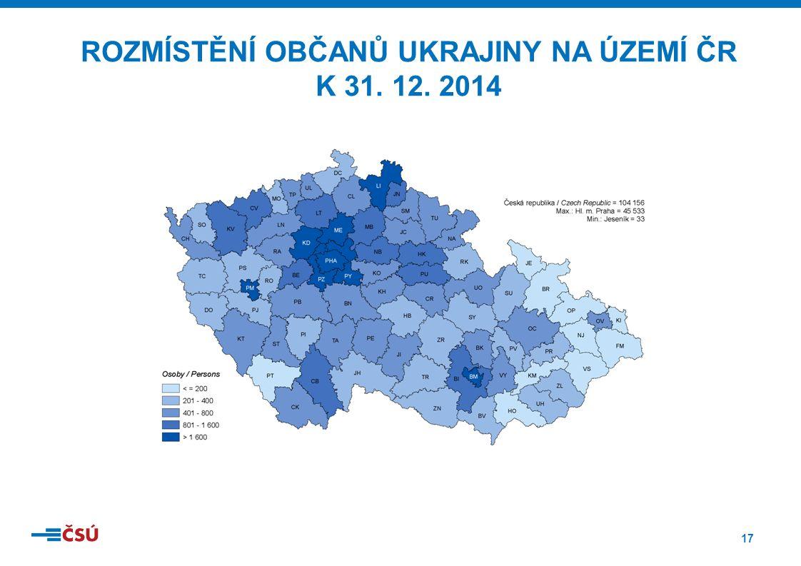 17 ROZMÍSTĚNÍ OBČANŮ UKRAJINY NA ÚZEMÍ ČR K 31. 12. 2014