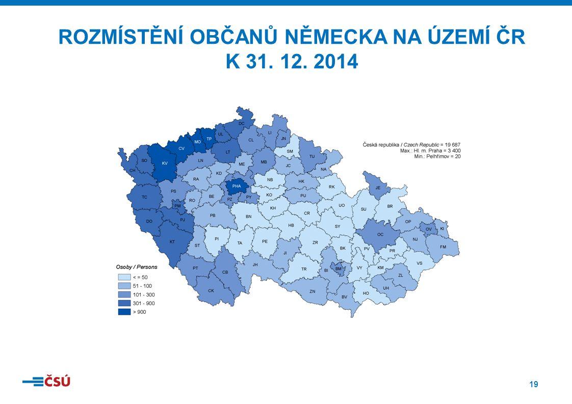 19 ROZMÍSTĚNÍ OBČANŮ NĚMECKA NA ÚZEMÍ ČR K 31. 12. 2014