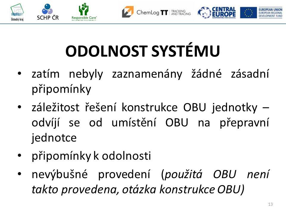 13 ODOLNOST SYSTÉMU zatím nebyly zaznamenány žádné zásadní připomínky záležitost řešení konstrukce OBU jednotky – odvíjí se od umístění OBU na přepravní jednotce připomínky k odolnosti nevýbušné provedení (použitá OBU není takto provedena, otázka konstrukce OBU)