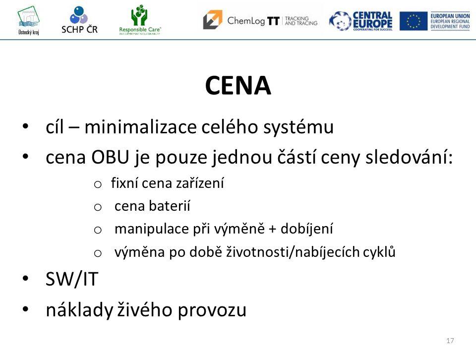 17 CENA cíl – minimalizace celého systému cena OBU je pouze jednou částí ceny sledování: o fixní cena zařízení o cena baterií o manipulace při výměně + dobíjení o výměna po době životnosti/nabíjecích cyklů SW/IT náklady živého provozu