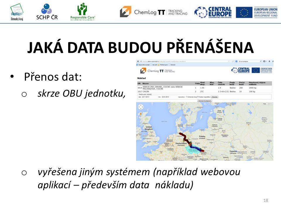 18 JAKÁ DATA BUDOU PŘENÁŠENA Přenos dat: o skrze OBU jednotku, o vyřešena jiným systémem (například webovou aplikací – především data nákladu)