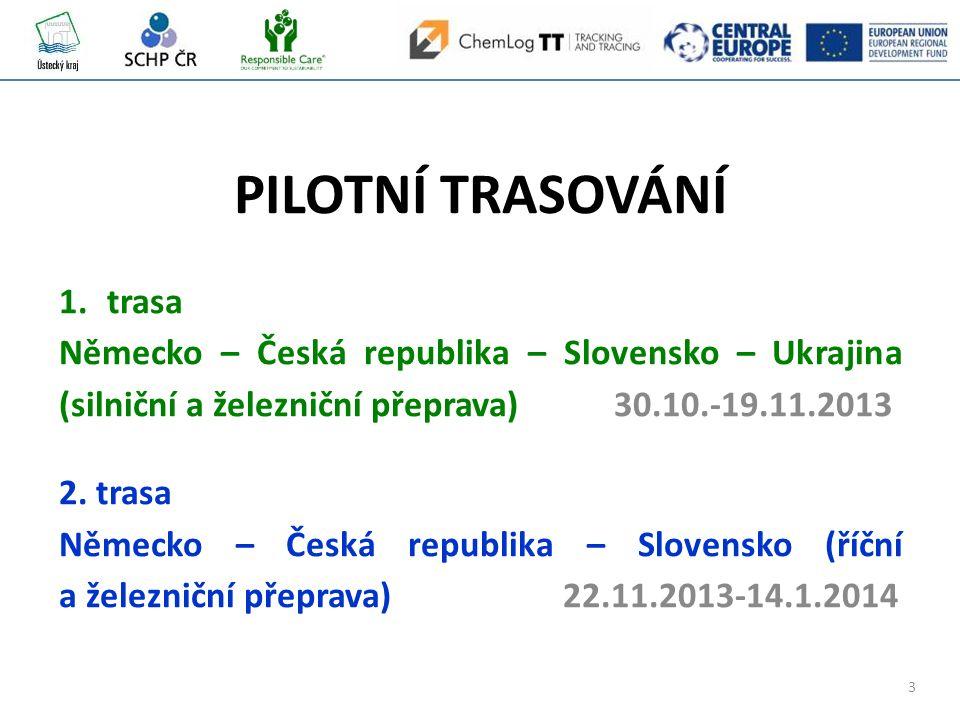 3 PILOTNÍ TRASOVÁNÍ 1.trasa Německo – Česká republika – Slovensko – Ukrajina (silniční a železniční přeprava) 30.10.-19.11.2013 2.