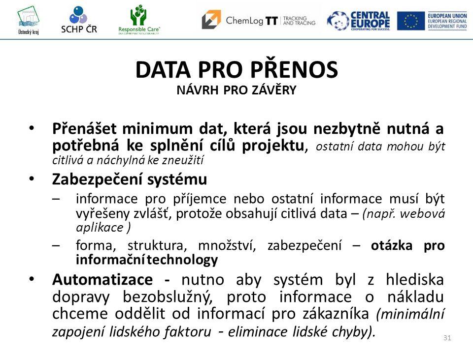 31 DATA PRO PŘENOS NÁVRH PRO ZÁVĚRY Přenášet minimum dat, která jsou nezbytně nutná a potřebná ke splnění cílů projektu, ostatní data mohou být citlivá a náchylná ke zneužití Zabezpečení systému –informace pro příjemce nebo ostatní informace musí být vyřešeny zvlášť, protože obsahují citlivá data – (např.
