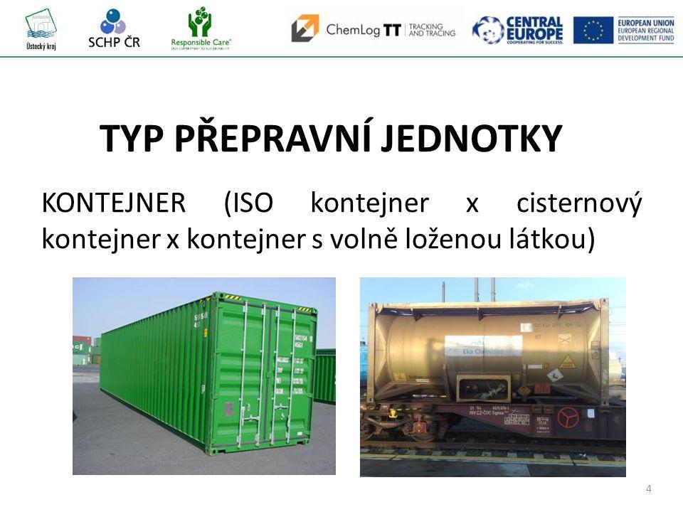 4 KONTEJNER (ISO kontejner x cisternový kontejner x kontejner s volně loženou látkou) TYP PŘEPRAVNÍ JEDNOTKY