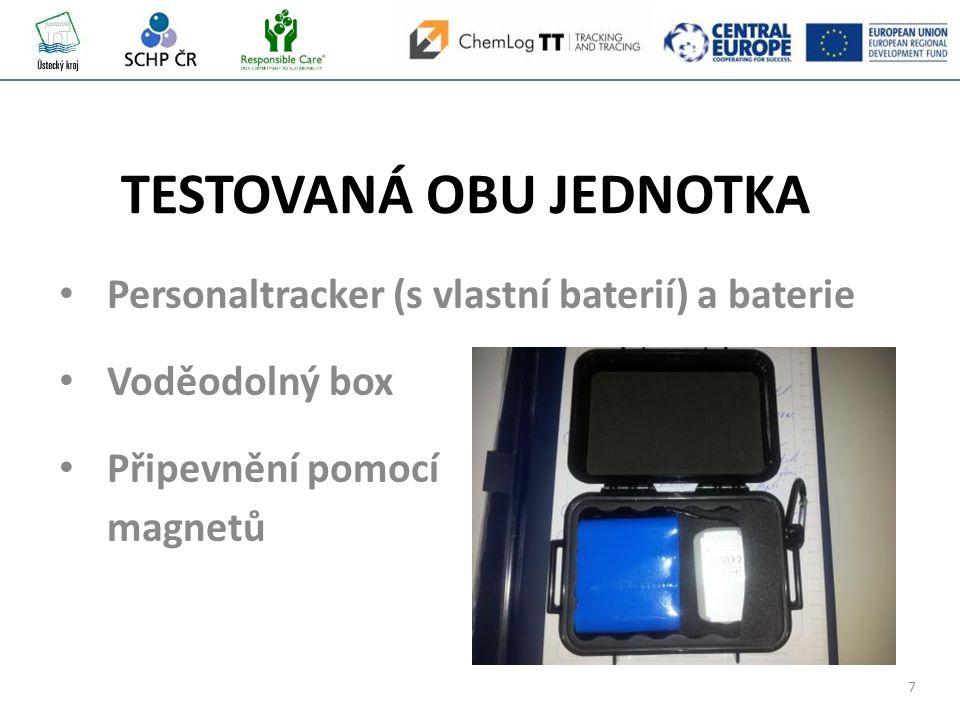 7 Personaltracker (s vlastní baterií) a baterie Voděodolný box Připevnění pomocí magnetů TESTOVANÁ OBU JEDNOTKA