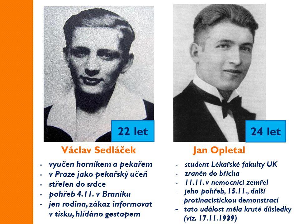 Václav SedláčekJan Opletal -vyučen horníkem a pekařem -v Praze jako pekařský učeň -střelen do srdce -pohřeb 4.11.