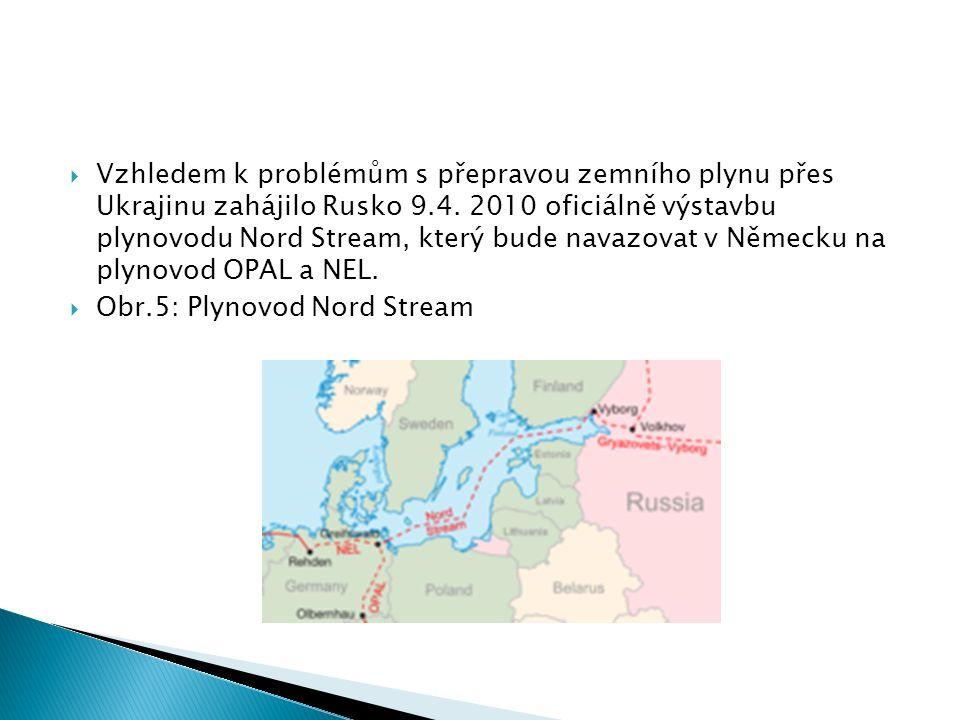  Vzhledem k problémům s přepravou zemního plynu přes Ukrajinu zahájilo Rusko 9.4. 2010 oficiálně výstavbu plynovodu Nord Stream, který bude navazovat