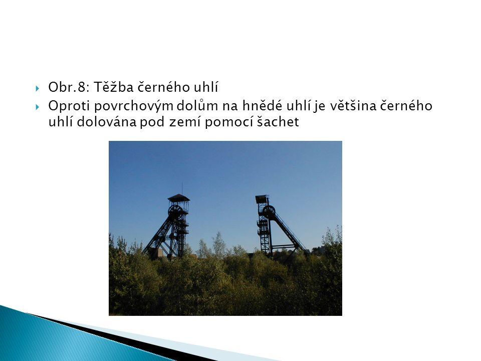  Obr.8: Těžba černého uhlí  Oproti povrchovým dolům na hnědé uhlí je většina černého uhlí dolována pod zemí pomocí šachet