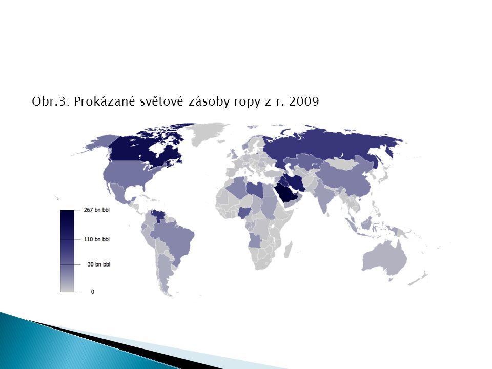 Obr.3: Prokázané světové zásoby ropy z r. 2009