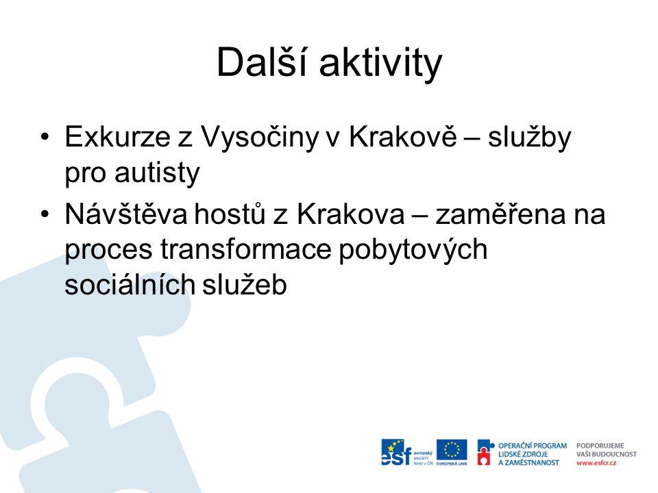 Další aktivity Exkurze z Vysočiny v Krakově – služby pro autisty Návštěva hostů z Krakova – zaměřena na proces transformace pobytových sociálních služeb