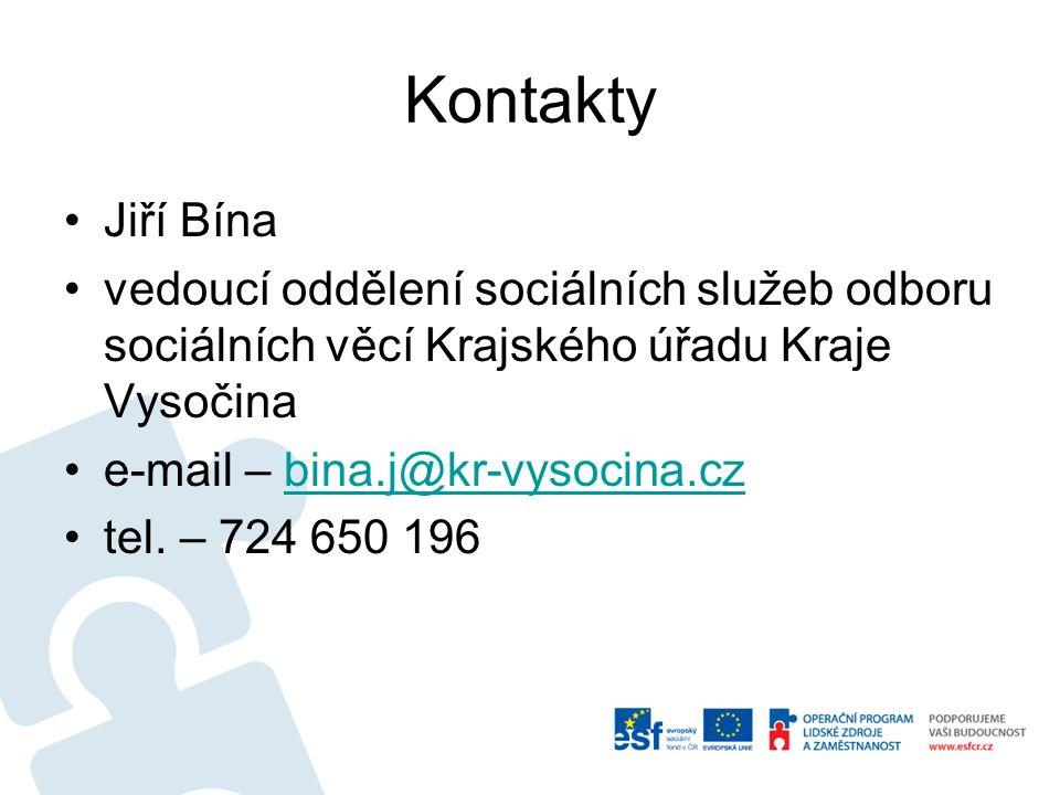 Kontakty Jiří Bína vedoucí oddělení sociálních služeb odboru sociálních věcí Krajského úřadu Kraje Vysočina e-mail – bina.j@kr-vysocina.czbina.j@kr-vysocina.cz tel.