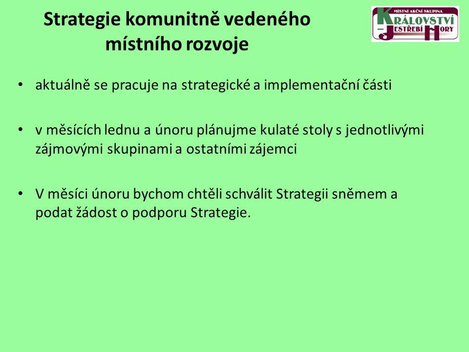 Strategie komunitně vedeného místního rozvoje aktuálně se pracuje na strategické a implementační části v měsících lednu a únoru plánujme kulaté stoly s jednotlivými zájmovými skupinami a ostatními zájemci V měsíci únoru bychom chtěli schválit Strategii sněmem a podat žádost o podporu Strategie.