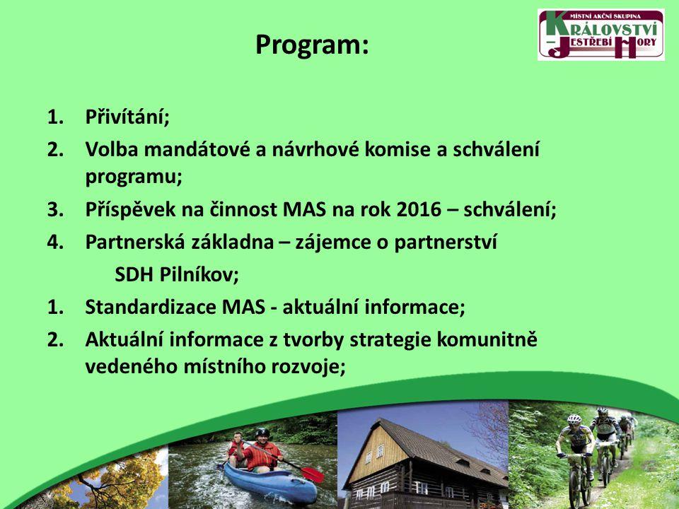 Program: 1.Přivítání; 2.Volba mandátové a návrhové komise a schválení programu; 3.Příspěvek na činnost MAS na rok 2016 – schválení; 4.Partnerská základna – zájemce o partnerství SDH Pilníkov; 1.Standardizace MAS - aktuální informace; 2.Aktuální informace z tvorby strategie komunitně vedeného místního rozvoje;