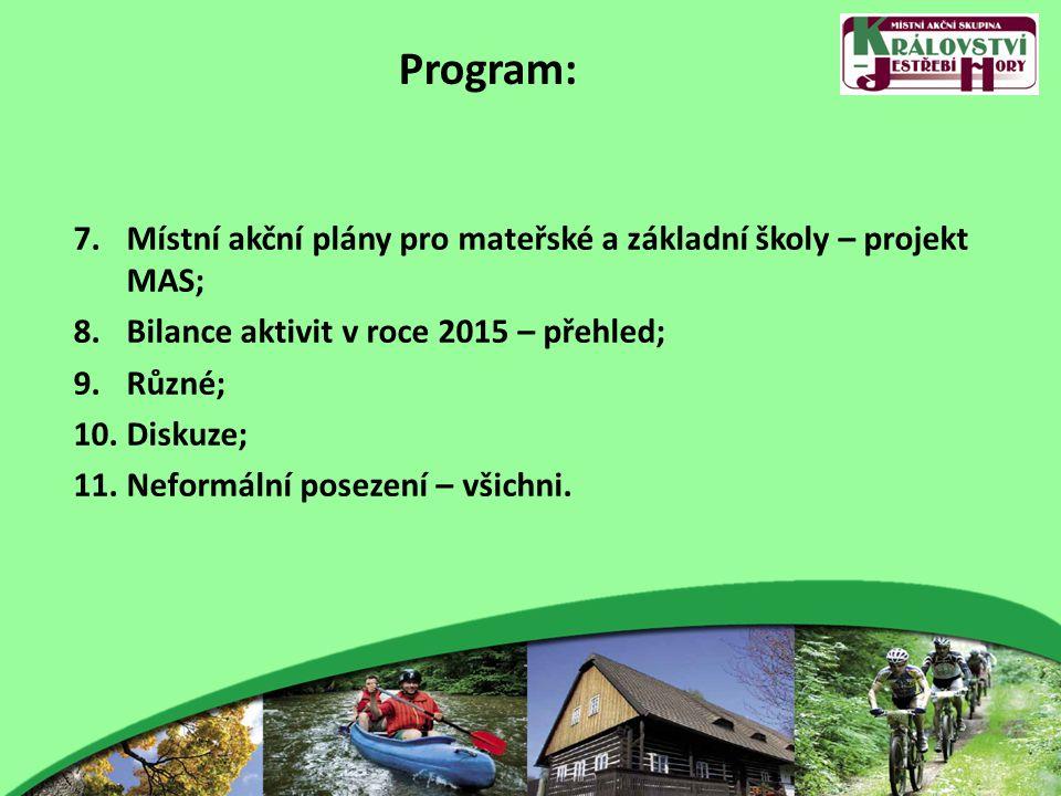 Program: 7.Místní akční plány pro mateřské a základní školy – projekt MAS; 8.Bilance aktivit v roce 2015 – přehled; 9.Různé; 10.Diskuze; 11.Neformální posezení – všichni.