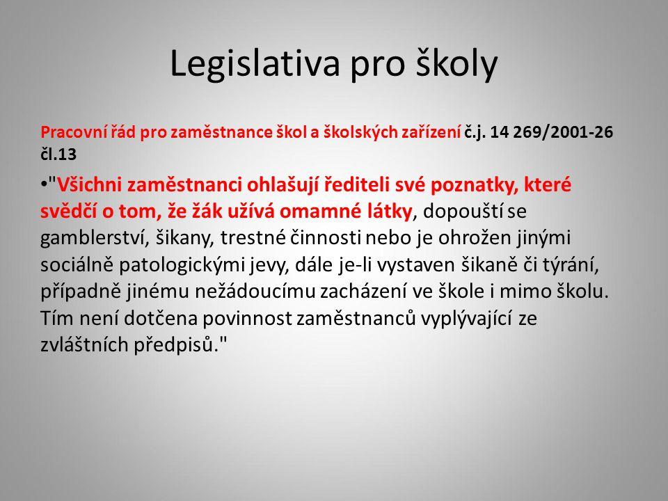 Legislativa pro školy Pracovní řád pro zaměstnance škol a školských zařízení č.j. 14 269/2001-26 čl.13