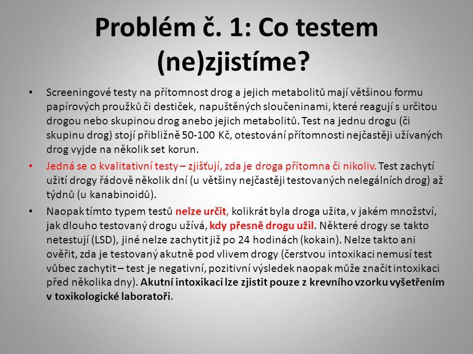 Problém č. 1: Co testem (ne)zjistíme? Screeningové testy na přítomnost drog a jejich metabolitů mají většinou formu papírových proužků či destiček, na