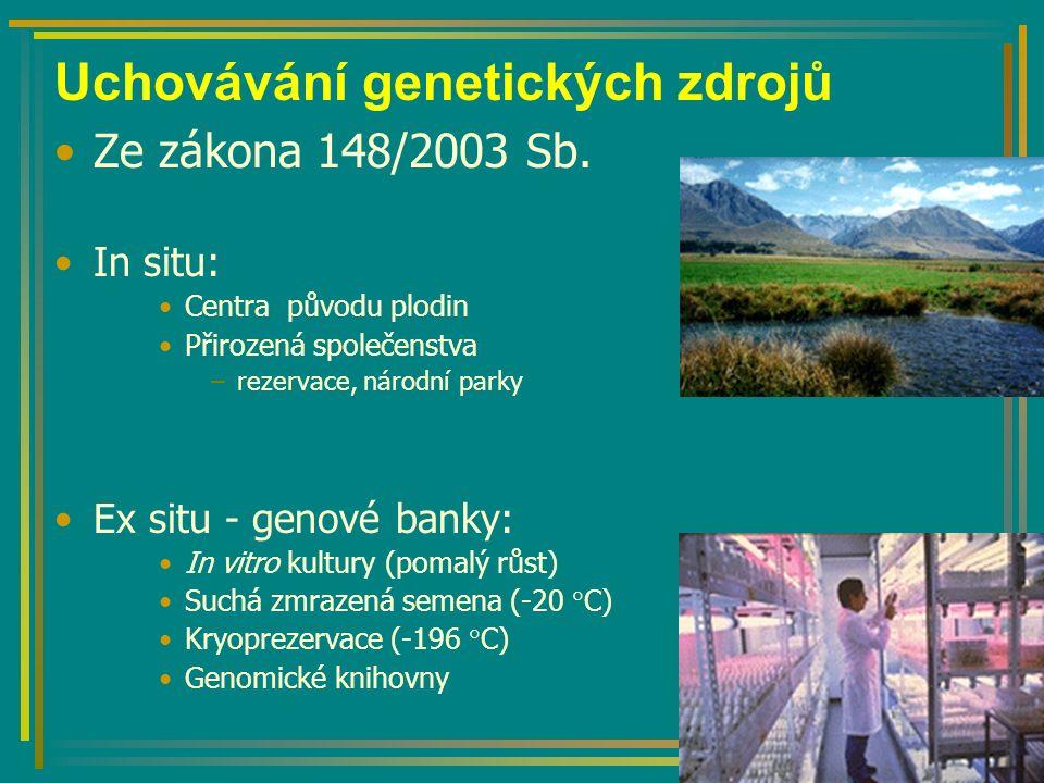 Uchovávání genetických zdrojů Ze zákona 148/2003 Sb.