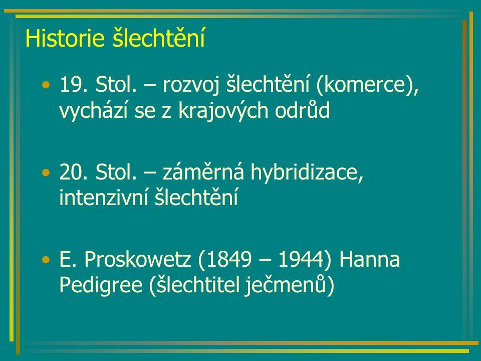 Historie šlechtění 19. Stol. – rozvoj šlechtění (komerce), vychází se z krajových odrůd 20.