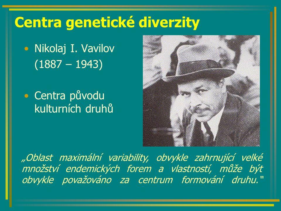 Centra genetické diverzity dle Vavilova