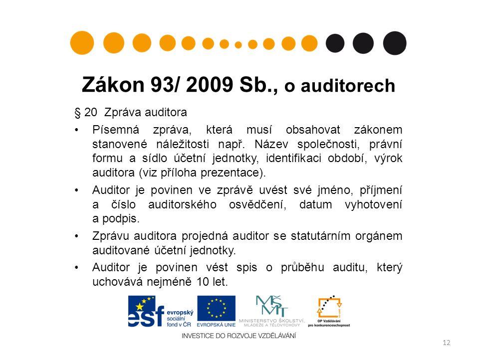 Zákon 93/ 2009 Sb., o auditorech § 20 Zpráva auditora Písemná zpráva, která musí obsahovat zákonem stanovené náležitosti např.